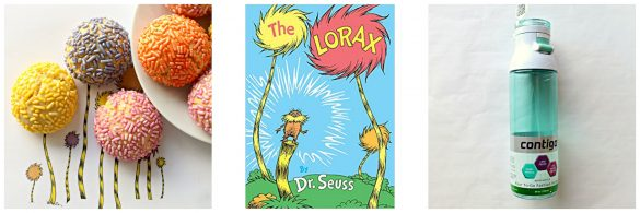 Photo 1: round puffy cookies coated in pasted sprinkles to look like the tops of the Truffula Trees. Photo 2: book cover to The Lorax. Photo 3: aqua water bottle.