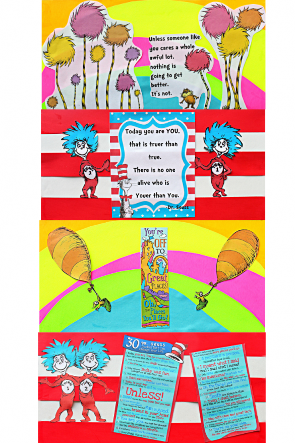 Closeup of the inside decorated flaps. The 1st is a rainbow background with cut outs of Truffula Trees and the Lorax on top. The 2nd is red and white striped with Things 1 and 2 and a poem. The 3rd is a rainbow background with two hot air balloons and a quote. The 4th is red and white striped with Things 1 and 2 and a list of Seuss quotes.