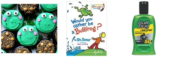 Photo 1: Oreos decorated like frogs. Photo 2: book cover to Would you Rather Be a Bullfrog. Photo 3: bottle of Bullfrog sunscreen.