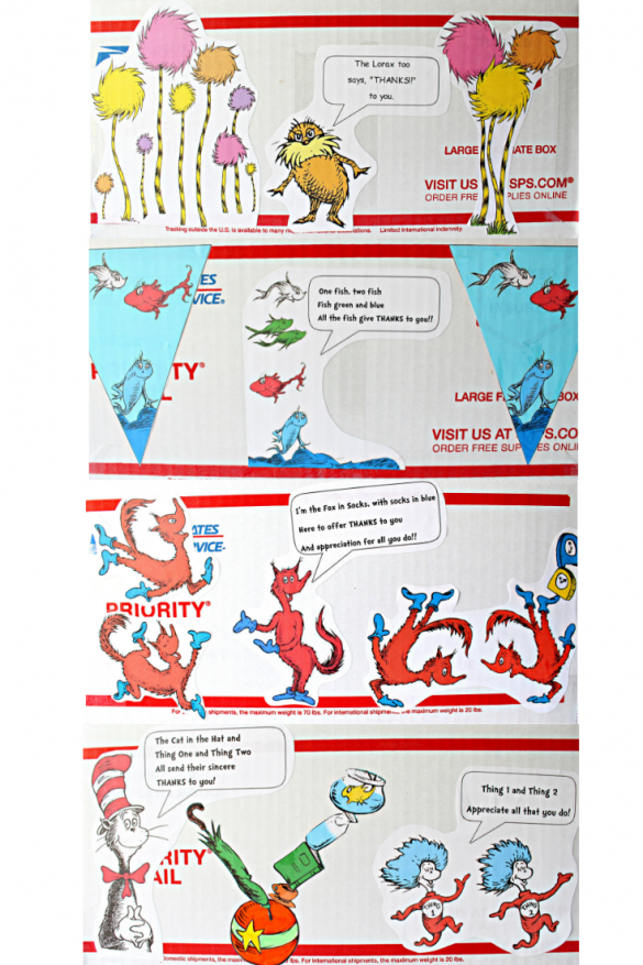 The outside of the box is decorated with cut out characters from Seuss books. The 1st side is two groups of Truffula Trees with the Lorax standing in the middle. The 2nd side is fish. The 3rd side is 5 red foxes in socks in various positions. The 4th side is the cat in the hat, a ball with an umbrella, book, milk bottle and fish bowl balanced on top, and Thing 1 and 2.