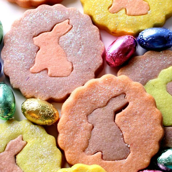 Closeup of bunny silhouettes on shortbread cookies