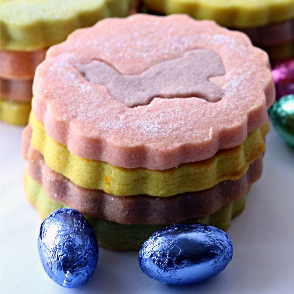 stack of pastel colored shortbread cookies