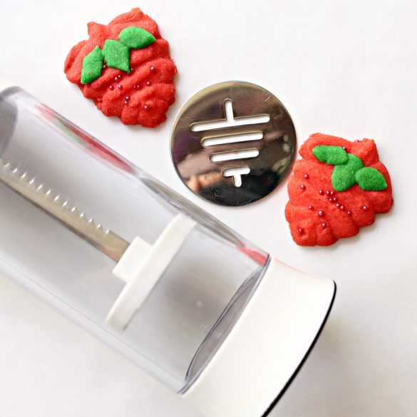 Cookie press, Christmas tree disc turned upside down, 2 Strawberry Press Cookies