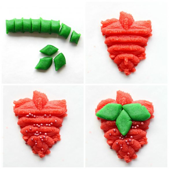 step by step image collage for making strawberry press cookies