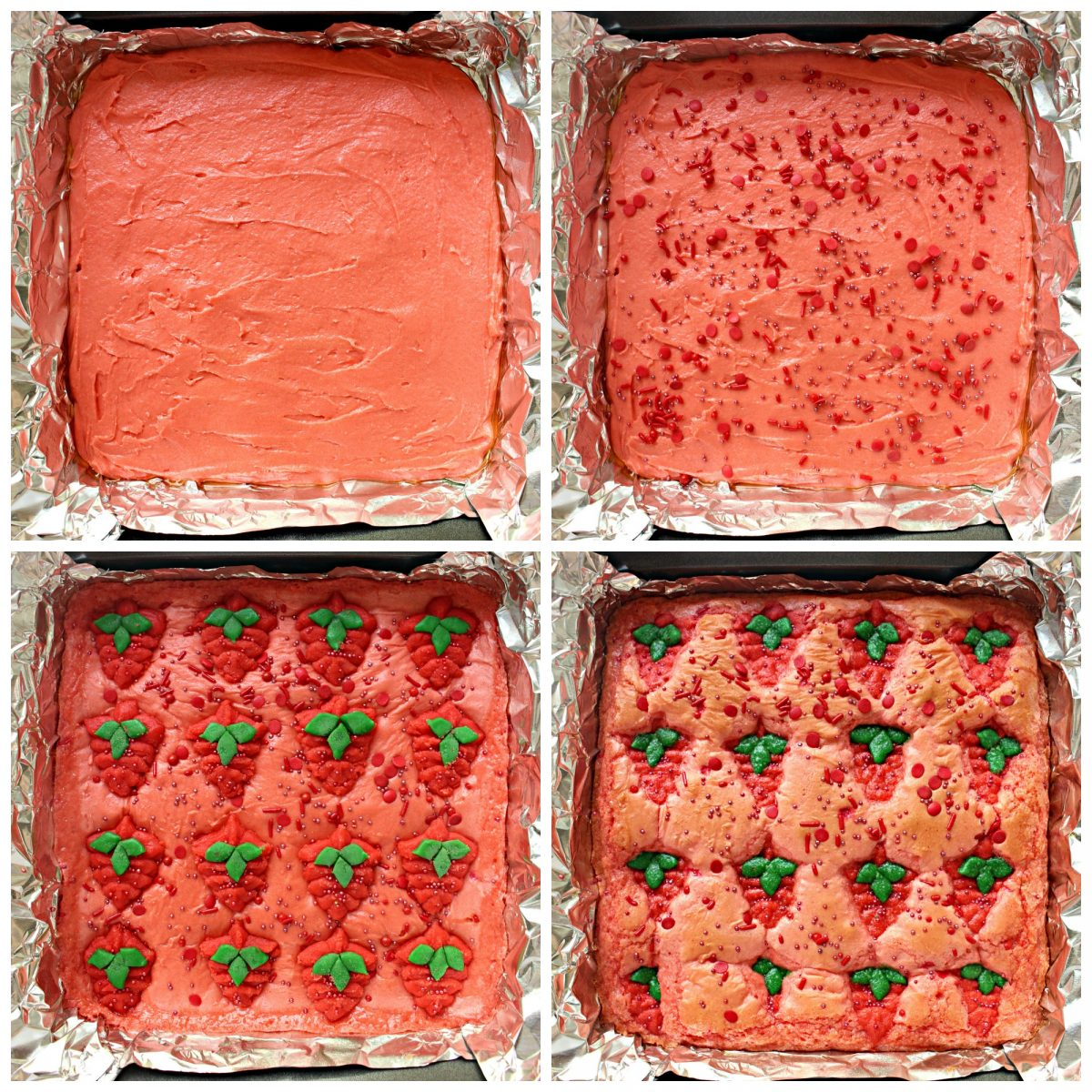 Process collage for decorating strawberry brownies: spread in pan, add sprinkles, add strawberry cookies, bake.