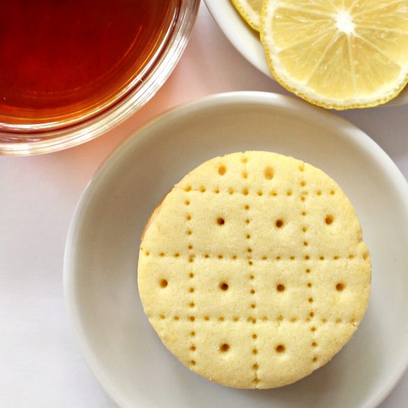 closeup of Shrewsbury Biscuit decorated with dotted grid lines