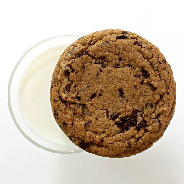 Chocolate Chip Molasses Cookie closeup on rim of glass of milk