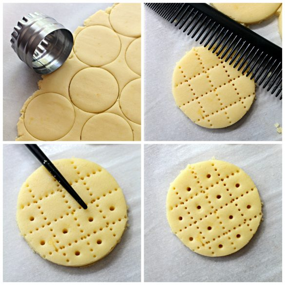 4 steps to making Shrewsbury Biscuits, roll out and cut circles, make grid with comb, make dots inside grid boxes with chopstick tip.