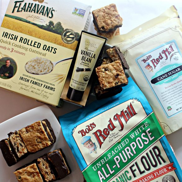 Oatmeal Fruit Bars with sponsor products: sugar, oats, flour, vanilla bean paste.