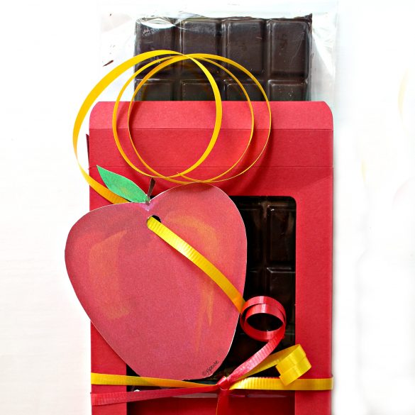 chocolate bar in a red gift box