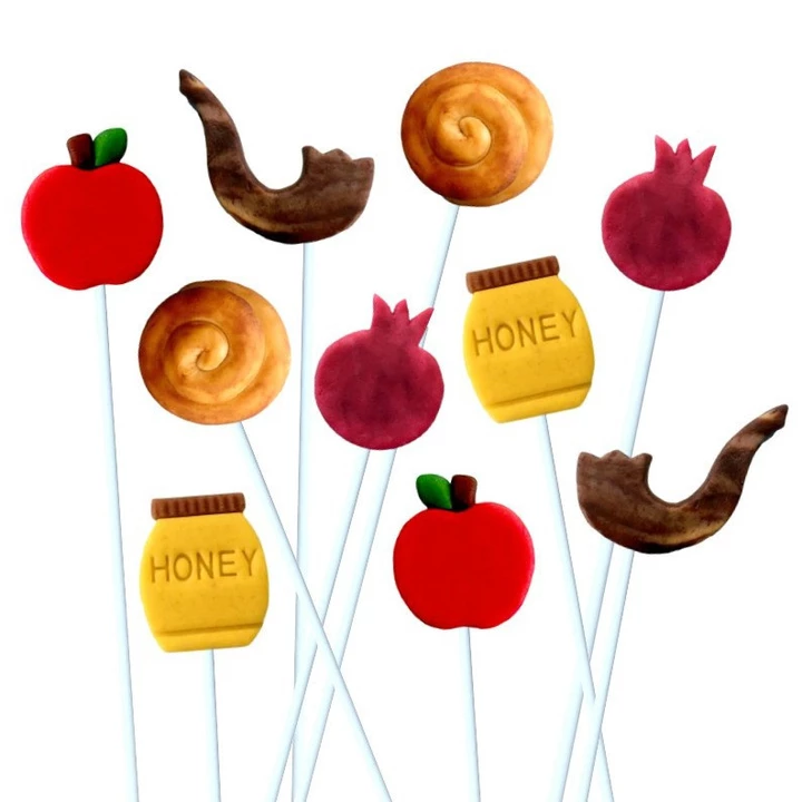 Marzipan Lollipops in Rosh Hashana shapes: round challahs, honey jars, apples, shofars for Rosh Hashanah gift care package