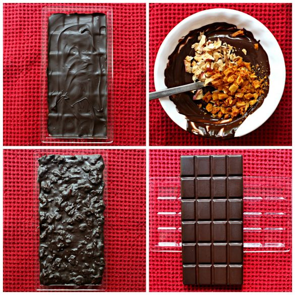 Photo directions to make Apples and Honey Chocolate Barsfirst layer of chocolate in mold, mix together melted chocolate, chopped honeycomb, and chopped cripd dried apples, final layer in mold, finished chocolate bar out of mold.