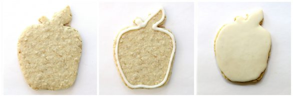 Steps 1-3 for decorating Apple Oatmeal Cutout Cookies: 1. plain cookie 2. cookie outlined in white icine 3. cookie coated in white icing