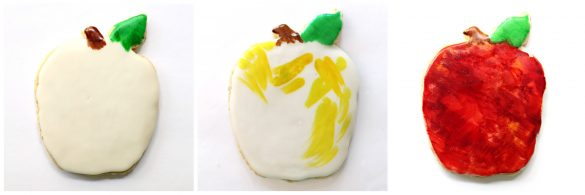 Steps 3-6 for decorating Apple Oatmeal Cutout Cookies : 4. paint leaf green and stem brown 5. add a few strokes of yellow 6. paint the apple red