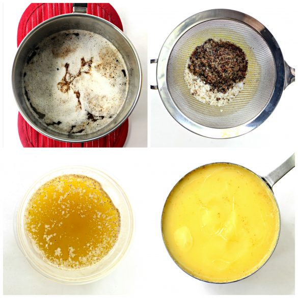 Step by step images collage making tea infused butter, then straining out the tea leaves.