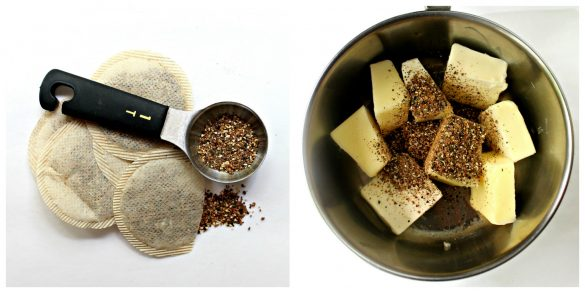 Step by step images collage  making tea infused butter adding tea leaves to melted butter.