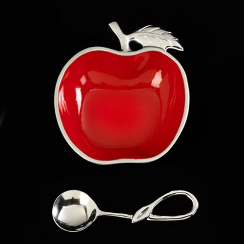 Red apple shaped honey bowl and silver spoon for a Rosh Hashanah gift.