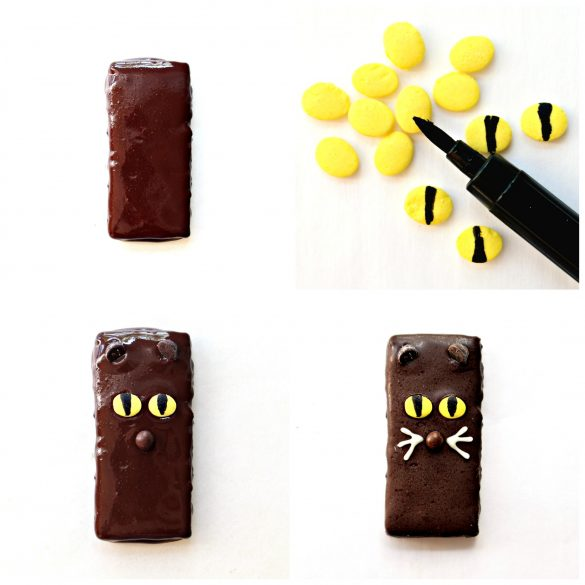 To make Spooky Graham Crackers cats: chocolate covered graham, cat eyes made with yellow oval sprinkles with black food marker vertical line, graham with chocolate chip ears, yellow sprinkle eyes, brown ball sprinkle nose, Cat Graham