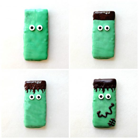 "To make Spooky Graham Crackers Frankenstein: 1. graham coated in green tinted white chocolate with 2 cany eyes, 2. top edge of graham dipped in dark chocolate for hair. 3. thin lines of chocolate ""bangs"" pulled toward eyes from chocolate dipped top edge 4. piped dark chocolate mouth and scar."