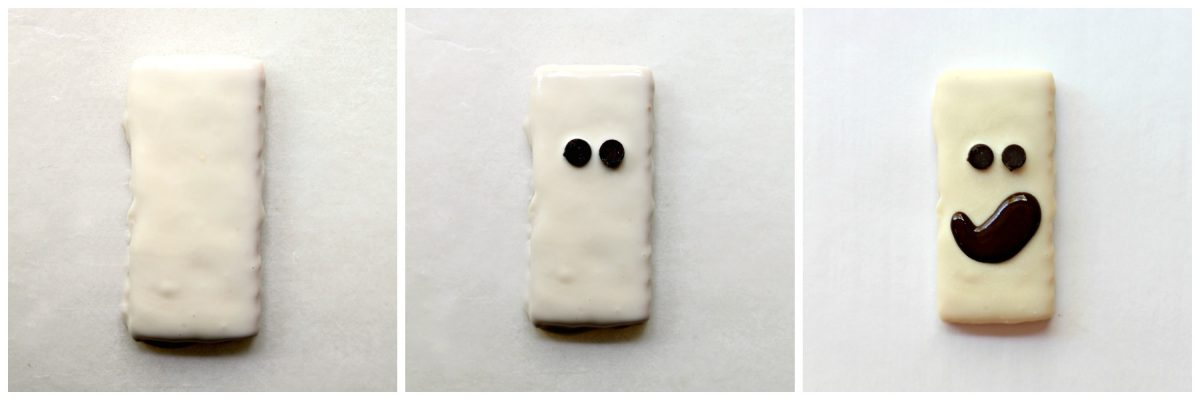 Ghost cookie decorating: white coating, mini chocolate chip eyes, piped chocolate mouth.