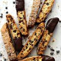 Chocolate Chip Biscotti with one end dipped in chocolate