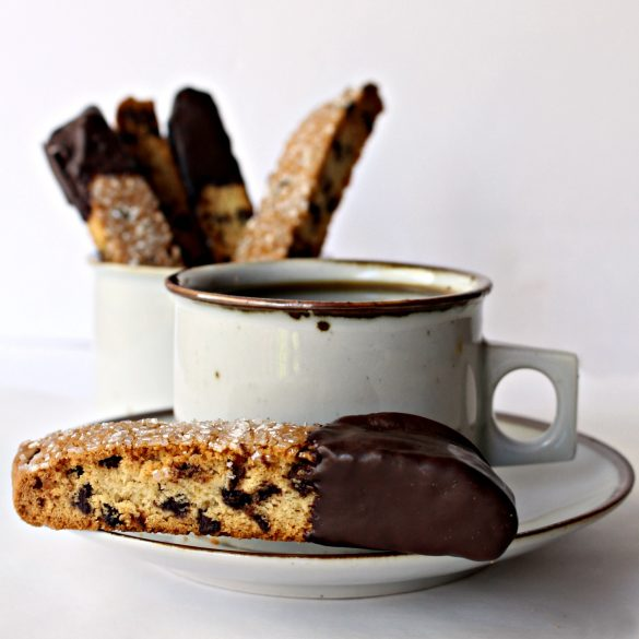 Chocolate Chip Biscotti on edge of saucer with mug of coffee.