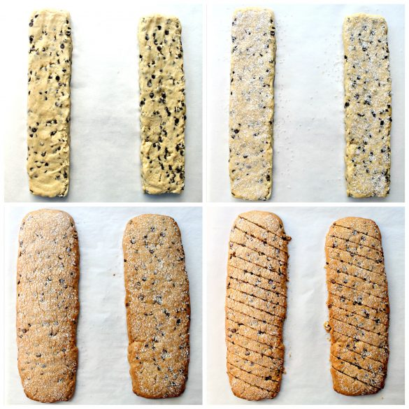 Four steps to baking biscotti; 1. form two dough logs 2. sprinkle with clear sparkle sugar 3. bake until golden 4 cut diagonally into 1/2 inch slices