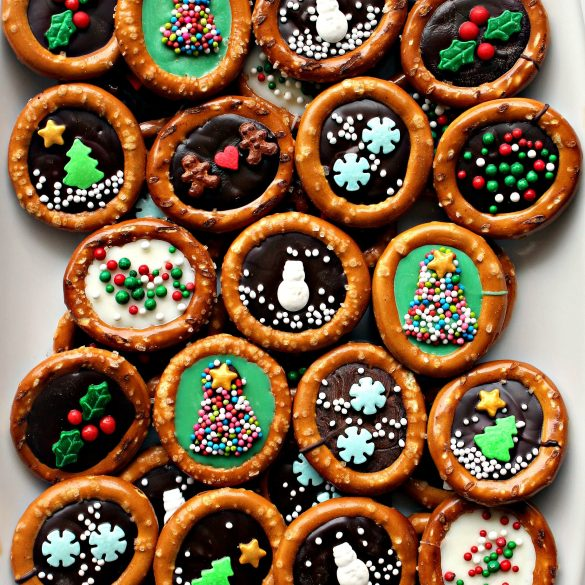 closeup of decorated Christmas Pretzels