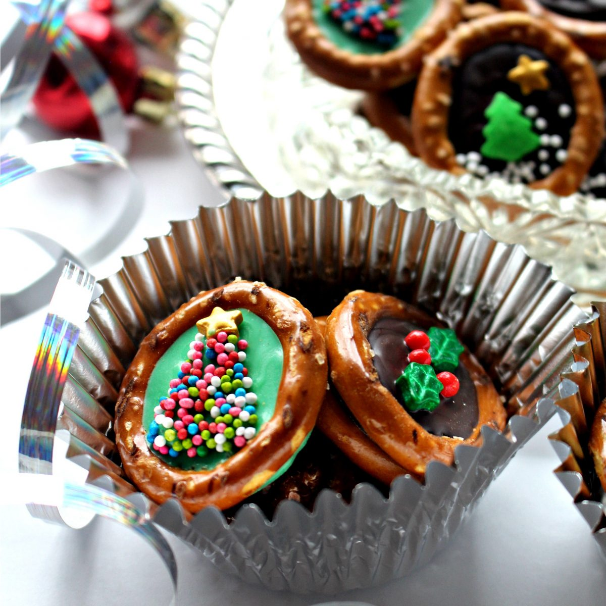 Christmas Pretzels in a silver foil cupcake liner.