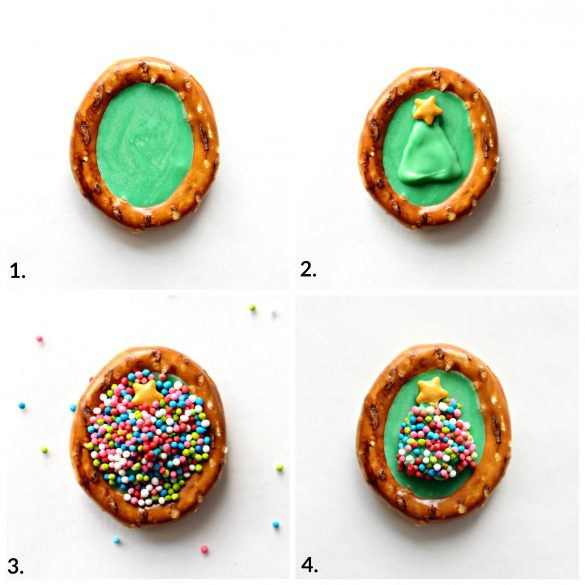 step by step image collage for making Christmas Tree decorated pretzels