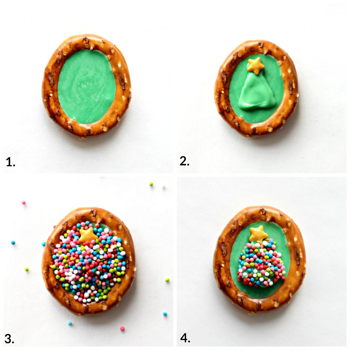 Decorating pretzels; fill with green chocolate, pipe green triangle with star sprinkle, add nonpareils, remove excess.