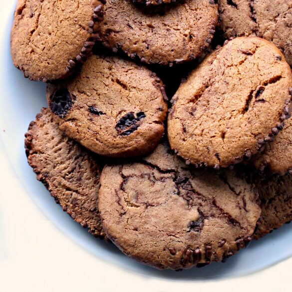 closeup of cookies on a plate