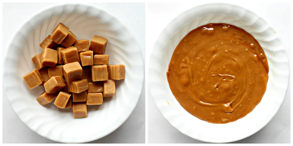 Caramel squares in a bowl before and after melting.