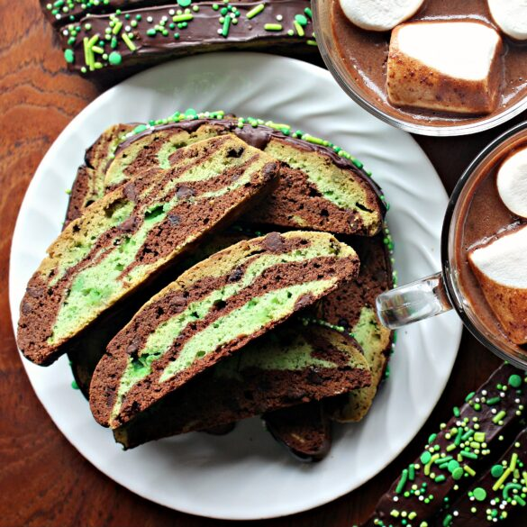 marbled biscotti on a plate