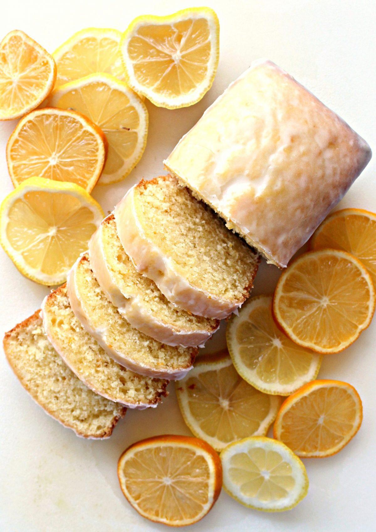 Iced Lemon Loaf sliced to show soft, dense interior.