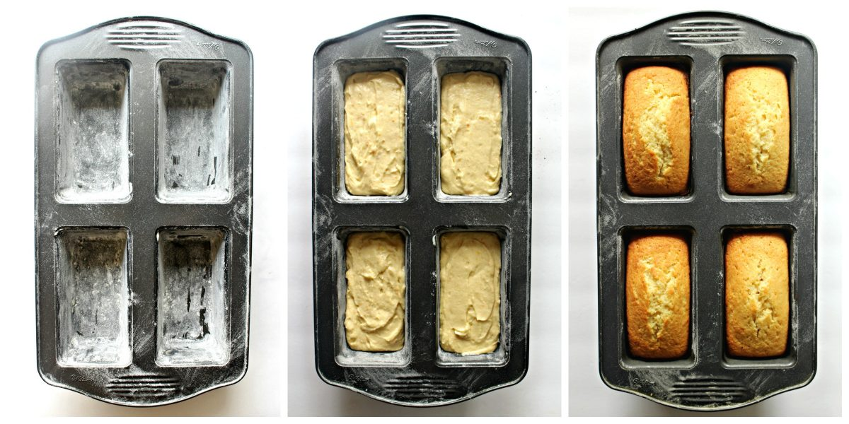 Collage for baking process: flour pans, fill with batter, bake until golden.