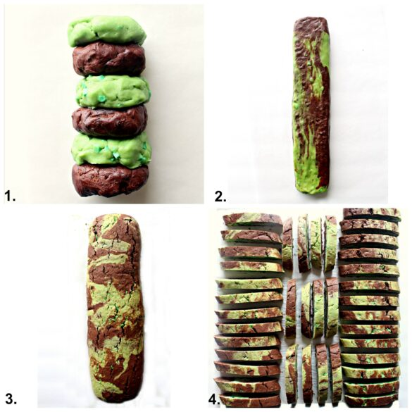 4 steps to marbled biscotti: 1. stack flavored dough discs alternating flavors 2. Mush and twist dough to marble then shape into log. 3. bake 4. slice, stand slices on baking sheet and bake again.