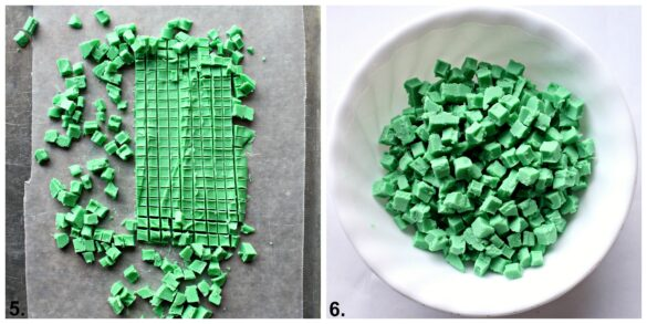 images collage chopping green chocolate into bits