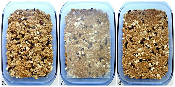 Photo 1: granola spread in blue baking dish. Photo 2: wax paper over granola to press on. Photo 3: compressed granola in the blue baking dish.