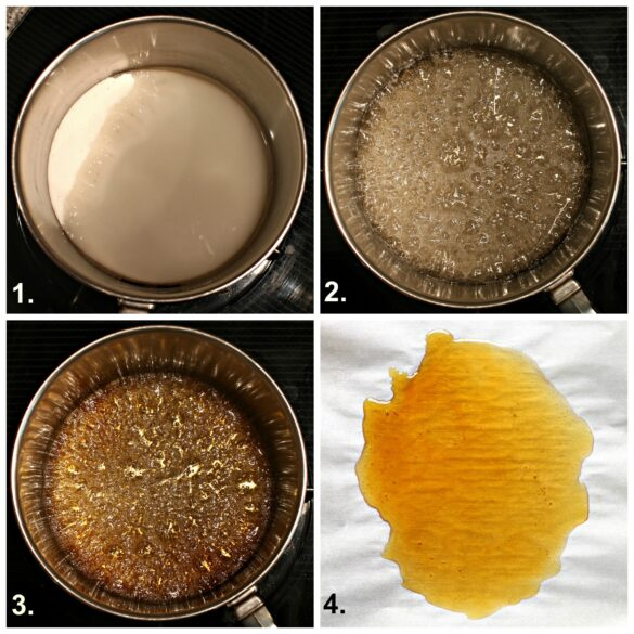 Collage with step by step images for making caramel cooked in a saucepan.