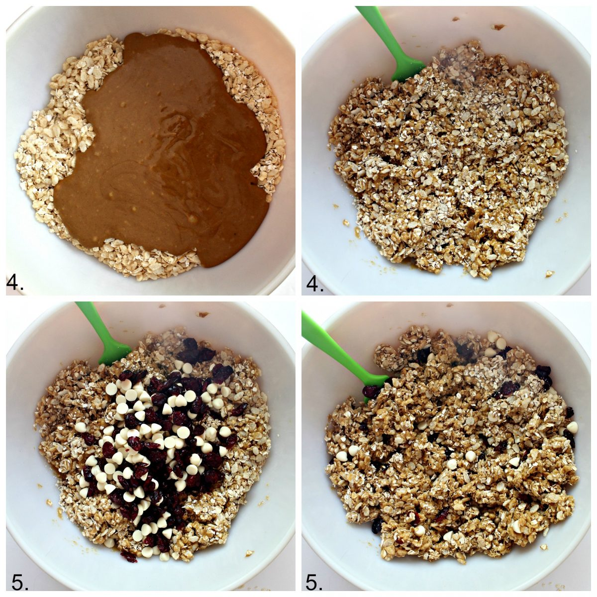 Step by step image collage combining granola mixture.