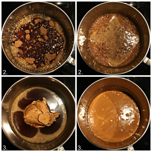 First photo: add brown sugar and liquid sweeteners to sauce pan. Second photo: mix until brown sugar disolves. Third photo: add peanut butter. Fourth photo: mix in peanut butter until smooth.