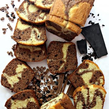Chocolate Marble Pound cake, with caramel and chocolate swirls, cut into slices