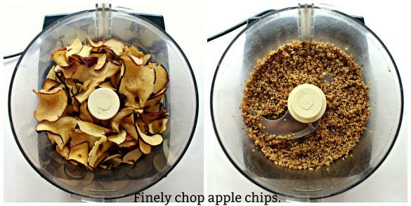 chopping apple chips process collage