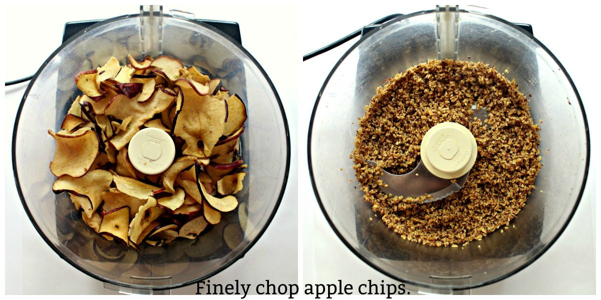 Collage of images showing chopping apple chips in food processor bowl.