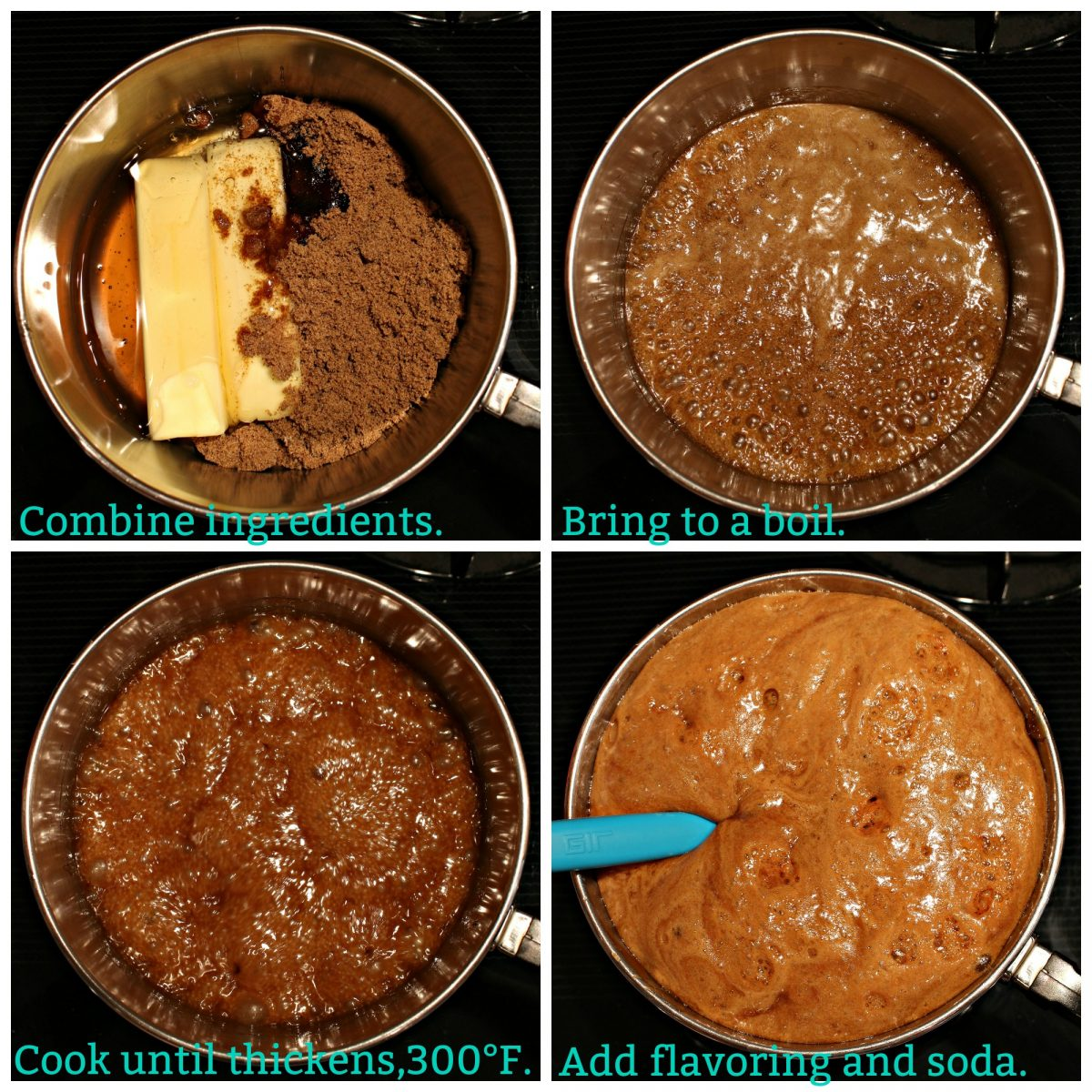 Collage with text overlay of honey caramel process; combine ingredients, boil, thicken, add flavoring and soda.