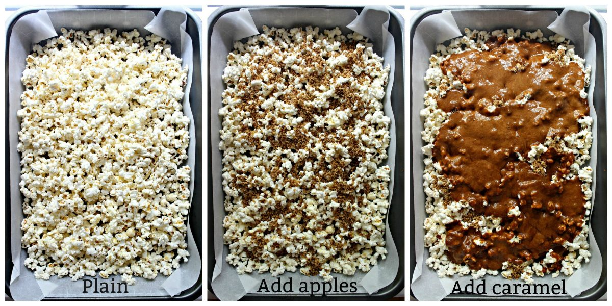 Collage with text overlay of popcorn coating process; plain popcorn, add apples, add caramel.