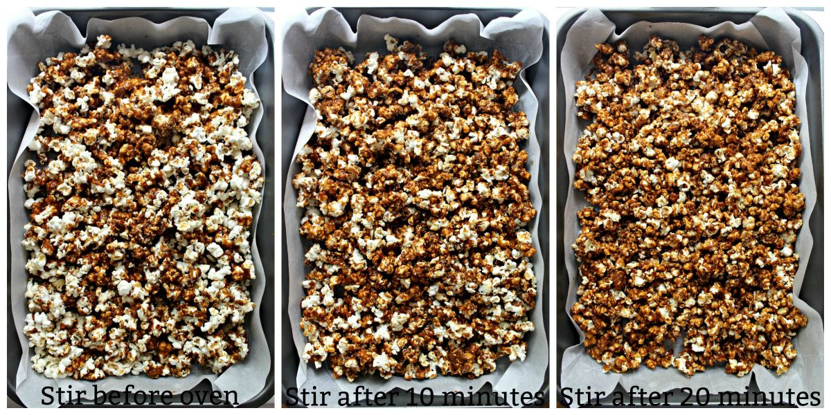 Collage with text overlay popcorn coating process: popcorn with caramel before oven, after 10 minutes, after 20 minutes.