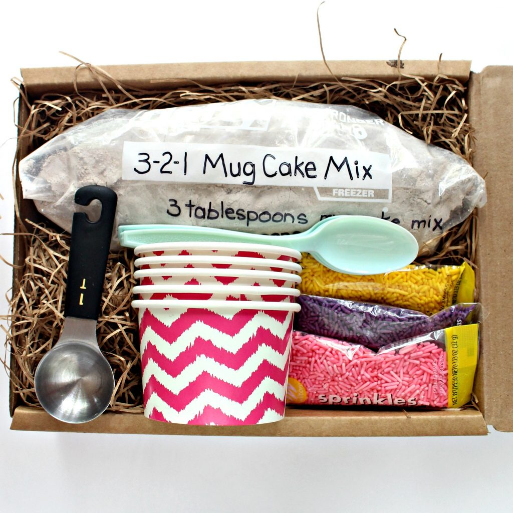 Packaged mug cake ingredients and materials