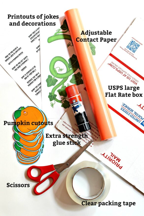 Materials for decorating the care package box, with text labels